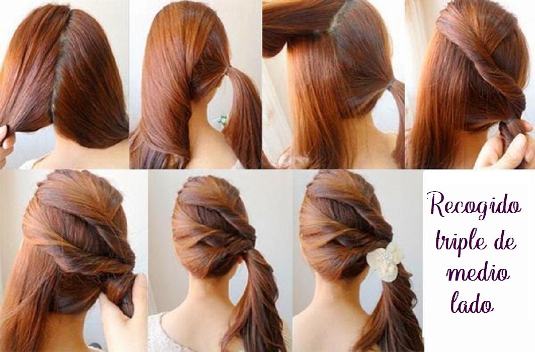 peinados fáciles y bonitos recogido triple de medio lado