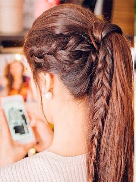peinados fáciles y bonitos coleta media con trenza a los laterales