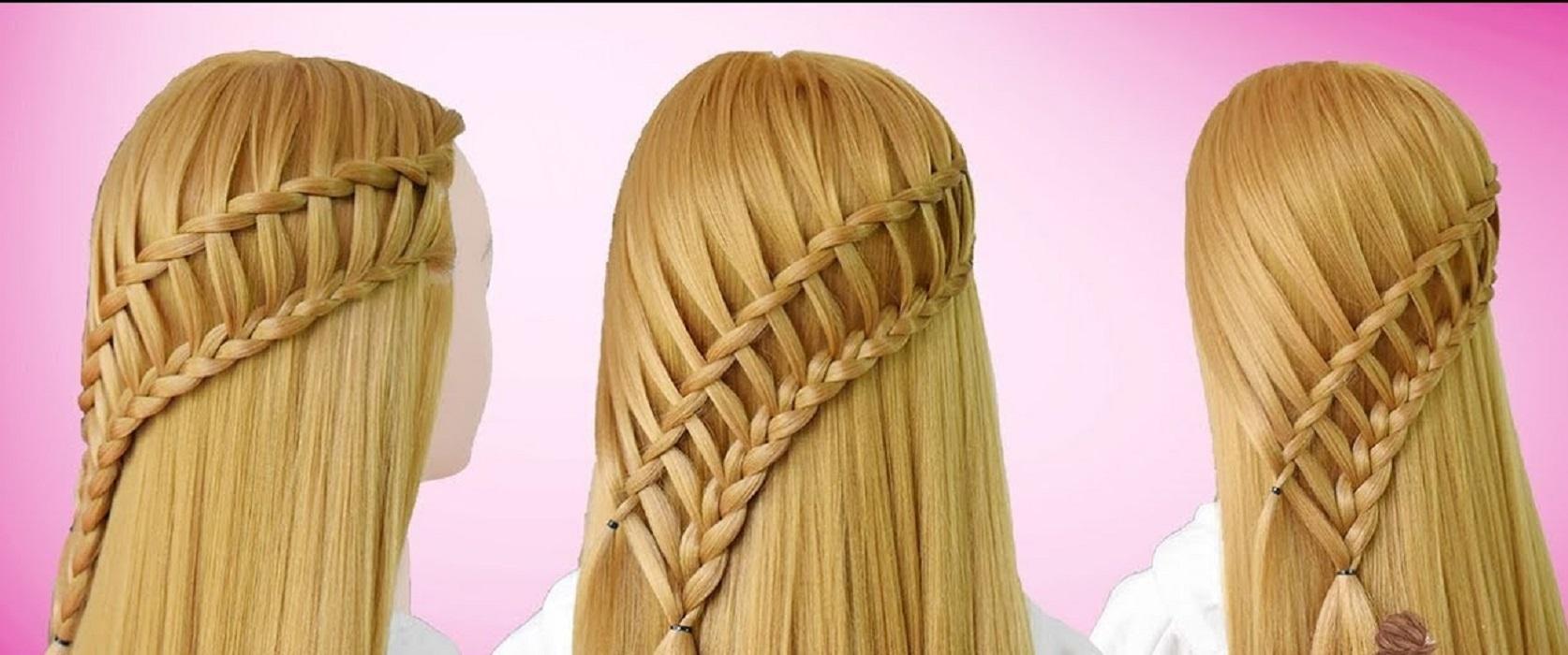 peinados fáciles y bonitos trenza escalera en diagonal con trenzas de cascadas