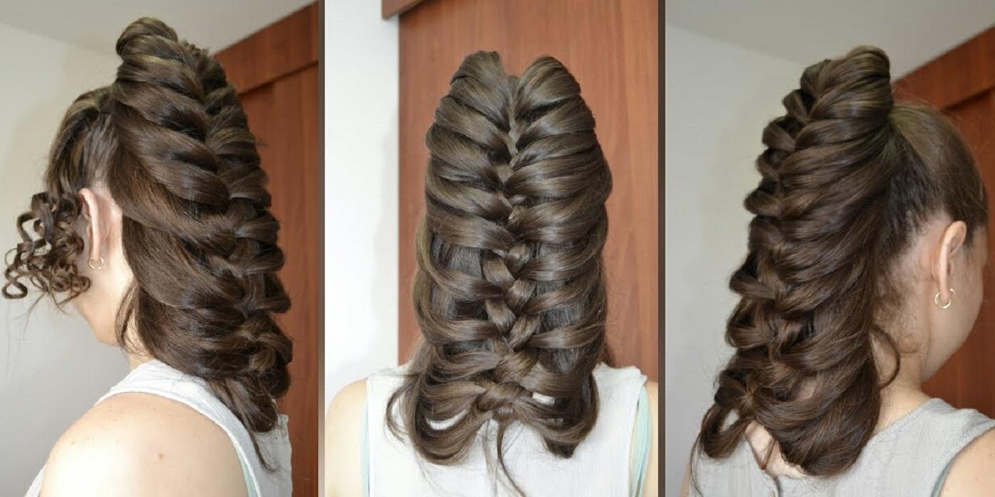 peinados fáciles y bonitos recogido con trenza de pluma o trenza esqueleto