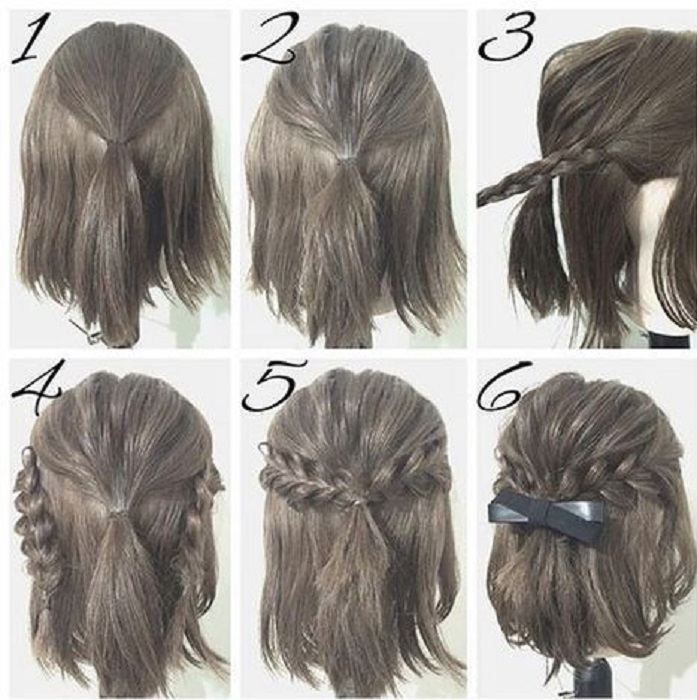 peinados fáciles y bonitos con lazo para cabello corto