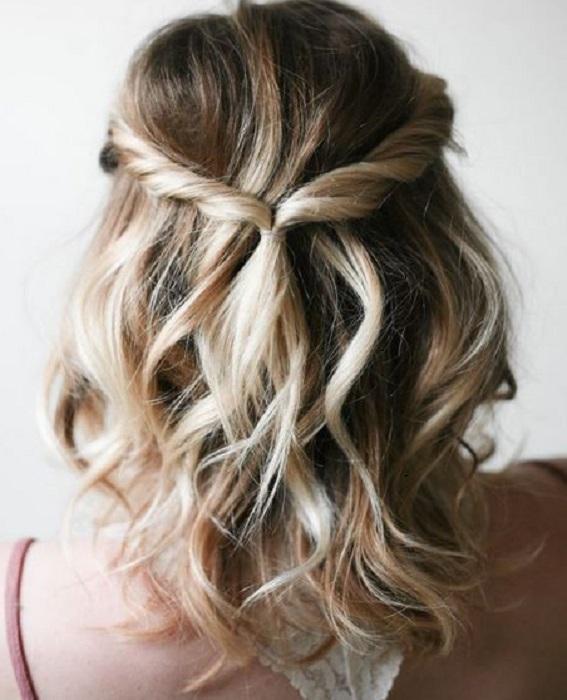 peinados fáciles y bonitos semirrecogido torcido