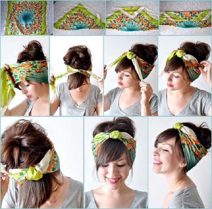 peinados fáciles y bonitos recogido con pañuelo pañoleta