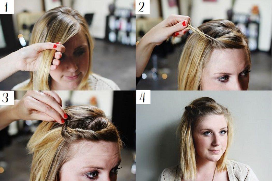 peinados fáciles y bonitos flequillo retorcido