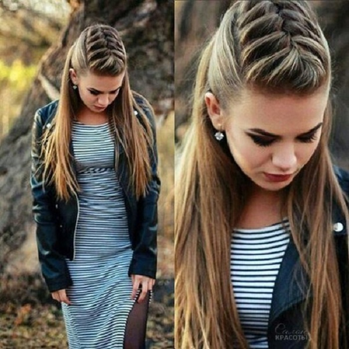 peinados fáciles y bonitos trenza frontal con falso mohicano