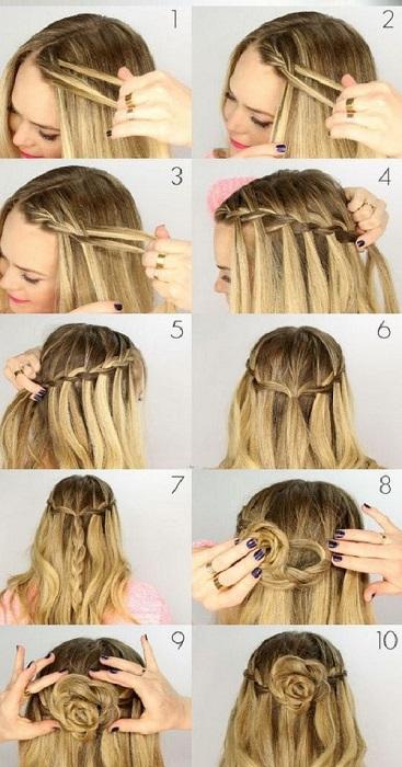 peinados fáciles y bonitos cascada de flor