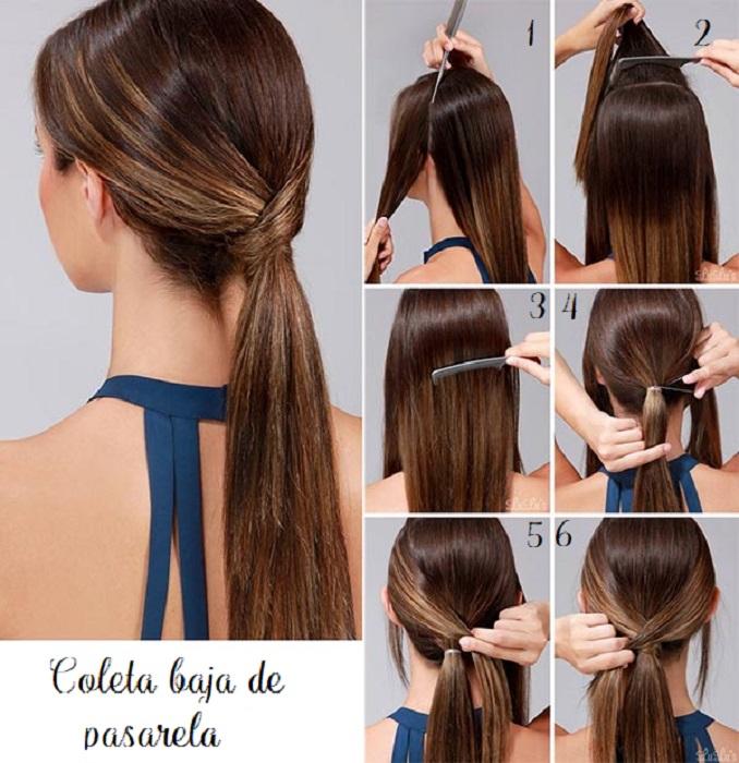 peinados fáciles y bonitos coleta baja de pasarela