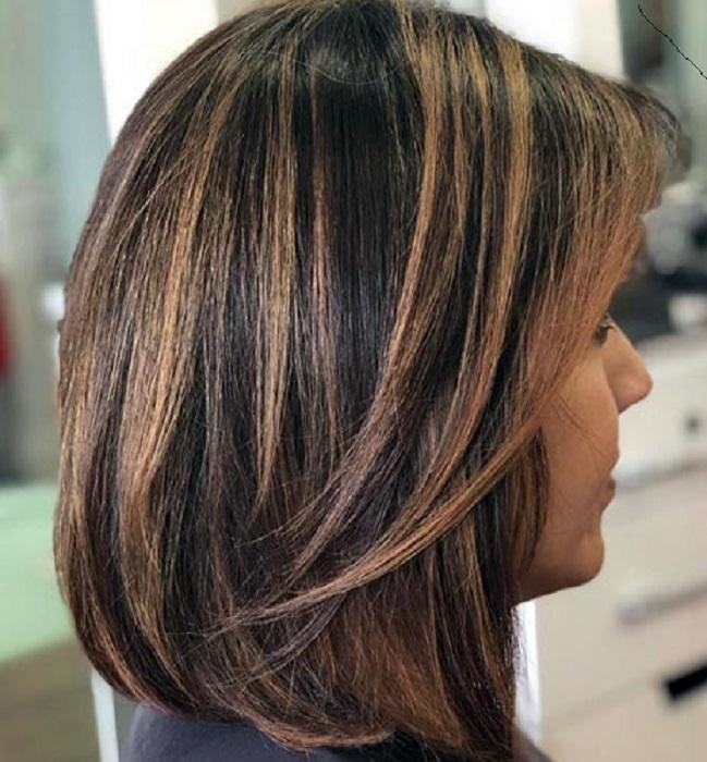 Mechas californianas cabello corto oscuro piel morena