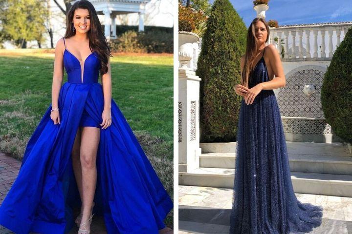 vestidos de graduacion azul