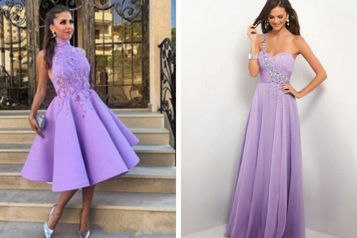vestidos de graduacion lila